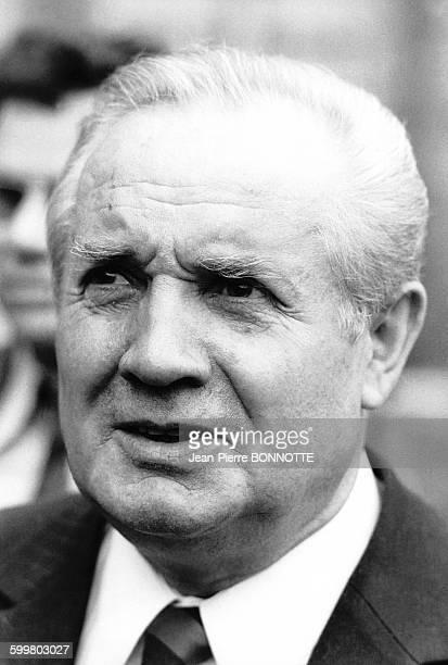 Portrait d'André Jarrot homme politique français et ministre de la Qualité de la vie du gouvernement Jacques Chirac entre 1974 et 1976 en France