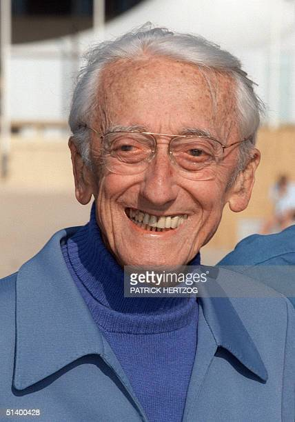 Portrait dated 09 April 1995 in Cannes southeast of France of JacquesYves Cousteau French undersea explorer and naturalist during a press conference...