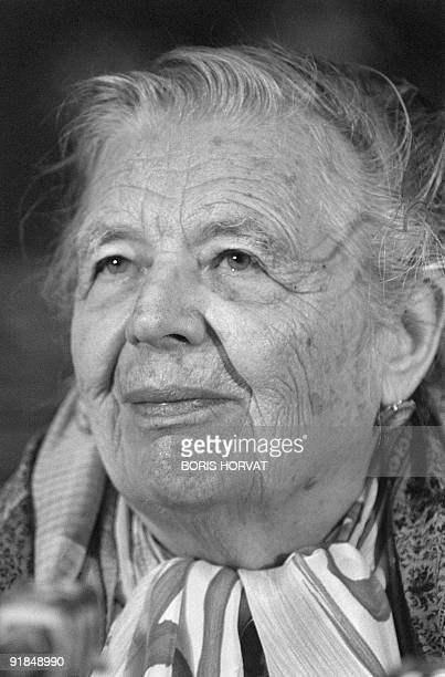 Portrait dated 10 April 1982 of French novellist Marguerite Yourcenar Yourcenar pseudonym of de Crayencour was born in Brussels She was the daughter...