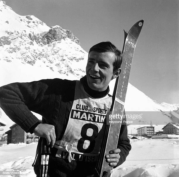 Portrait de JeanClaude Killy vainqueur du premier combiné du XIème Critérium international de la Première Neige à Val d'Isère France le 17 décembre...