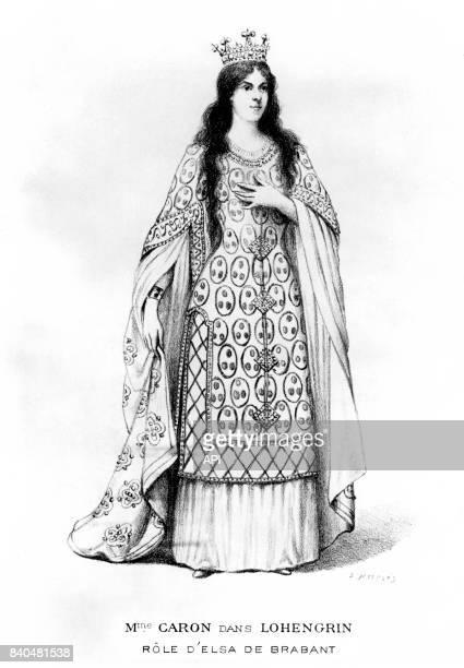 Portrait de la cantatrice française Rose Caron en costume d'Elsa von Brabant dans l'opéra 'Lohengrin' de Richard Wagner