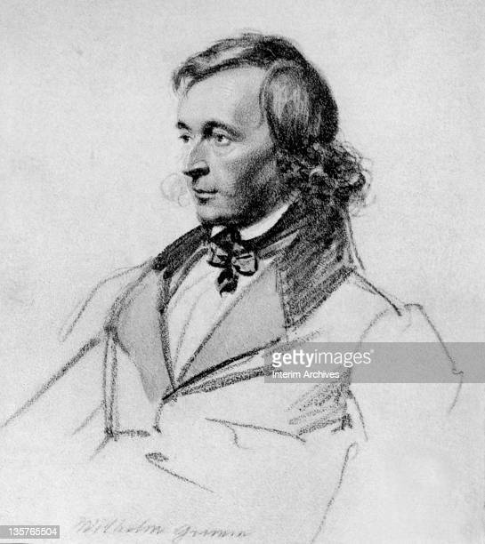 Portrait drawing of Wilhelm Grimm German scholar and author of fairy tales mid nineteenth century