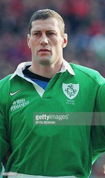 portrait du capitaine et deuxième ligne irlandais Johns pris le 20 février au stade de Wembley à Londres avant le début du match de rugby du Tournoi...