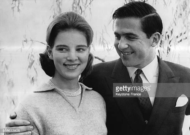 Portrait du Prince Constantin de Grece et la Princesse AnneMarie de Danemark le 18 novembre 1963 a Montreux Suisse
