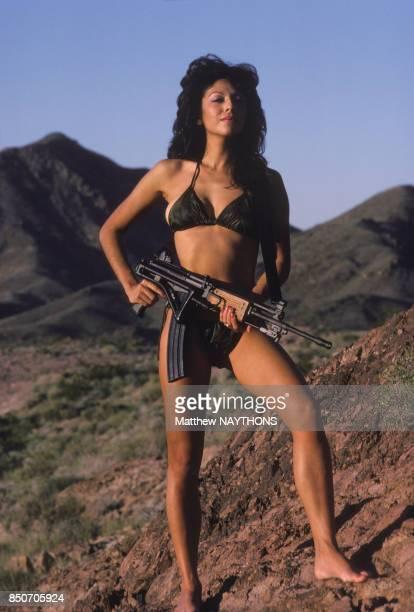 Portrait d'une femme mercenaire en maillot de bain en septembre 1984 à Las Vegas EtatsUnis