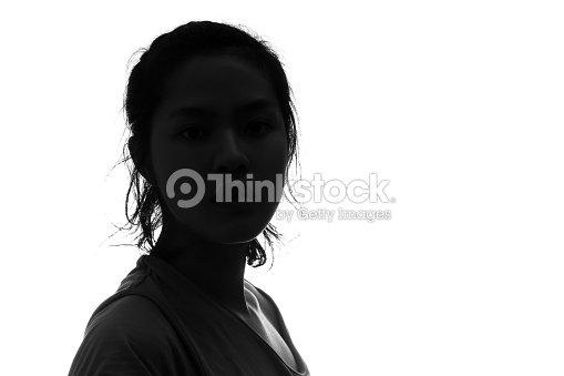 Retrato de mujer persona Silueta en fondo blanco. : Foto de stock