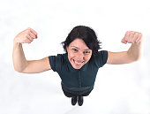 woman doing strength on a white background