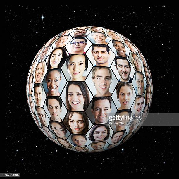 Portrait grid on globe in honeycomb formation