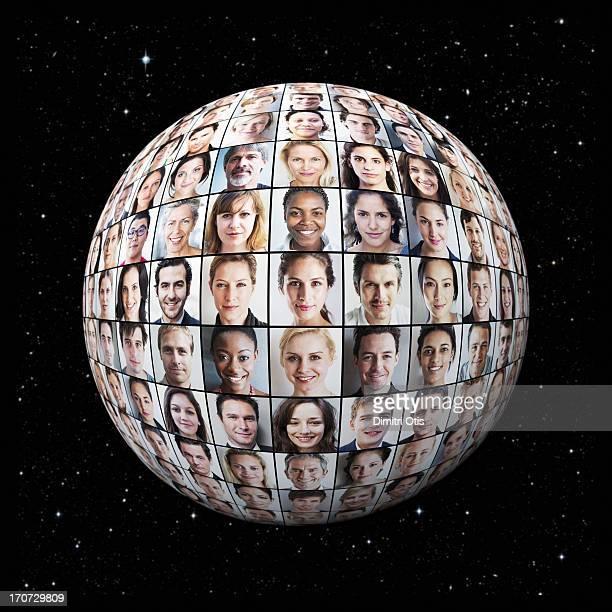 Portrait grid on globe, night sky in background