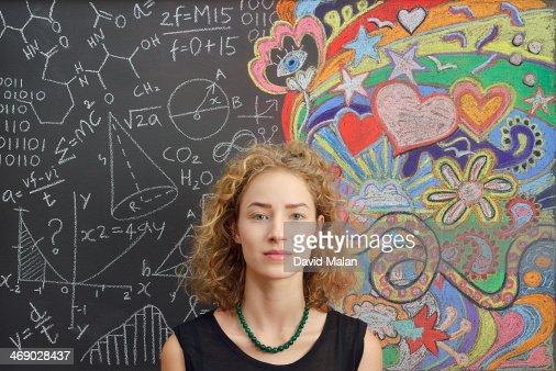 Portrait in front of doodles