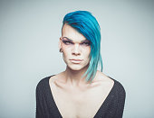 Portrait, male transvestite with blue hair