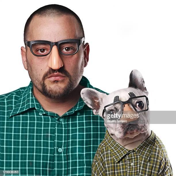 Portrait man and dog