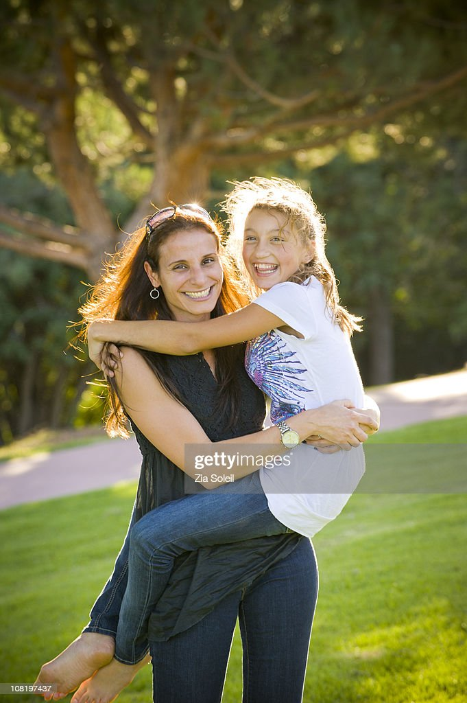 portrait, mom and her daughter : Stock Photo