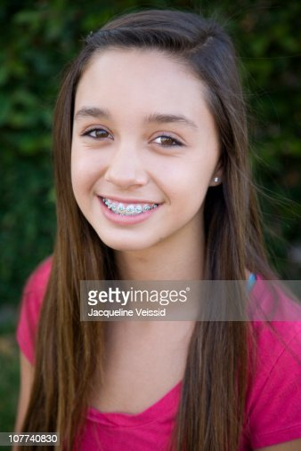 Portrait Of 12 Year Old Girl With Braces Stock Photo