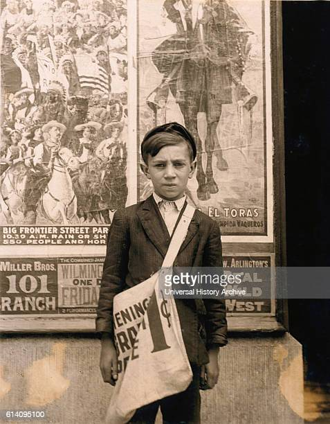Portrait of 12yearold Newsboy Works at Candy Store in Addition to Selling Newspapers Works 7 DaysaWeek Wilmington Delaware USA circa 1910