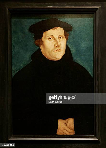 A portrait of 16thcentury German church reformer Martin Luther by Lucas Cranach the Elder hangs on display at the German Historical Museum October 1...
