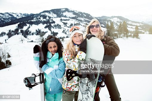 portrait of 3 young women in the snow