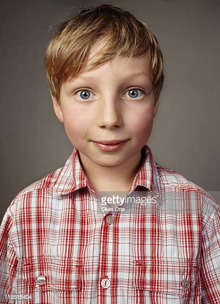Portrait of 8 year old blonde boy