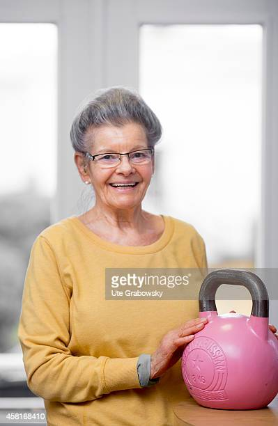 Portrait of a 75yearold woman at a gym on October 09 in Bonn Germany The WHO recommends older adults to stay physically active in order to increase...