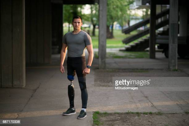 Portrait of a athletic man with prosthetic leg