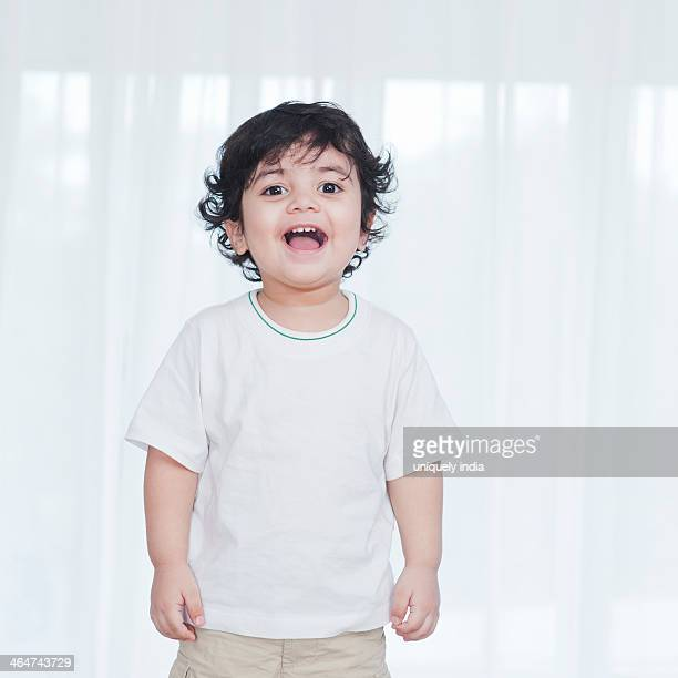 Portrait of a baby boy laughing