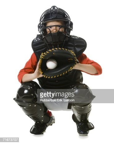 Portrait of a baseball catcher