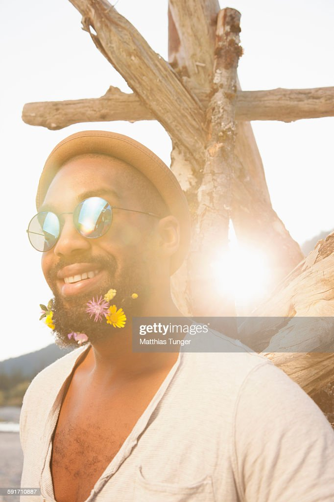 Portrait of a bearded black man in the sunset : Stock Photo
