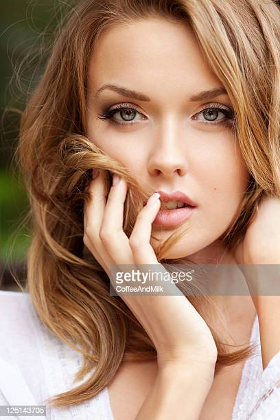 Beautiful Sensuality Teen Girl With Long Hair: Finger In Mouth Stock Photos And Pictures