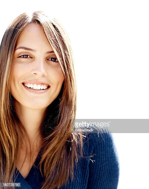 Porträt einer schöne brunette Frau Lächeln
