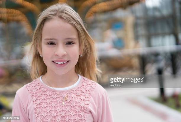 Portrait of a beautiful girl at a traveling carnival