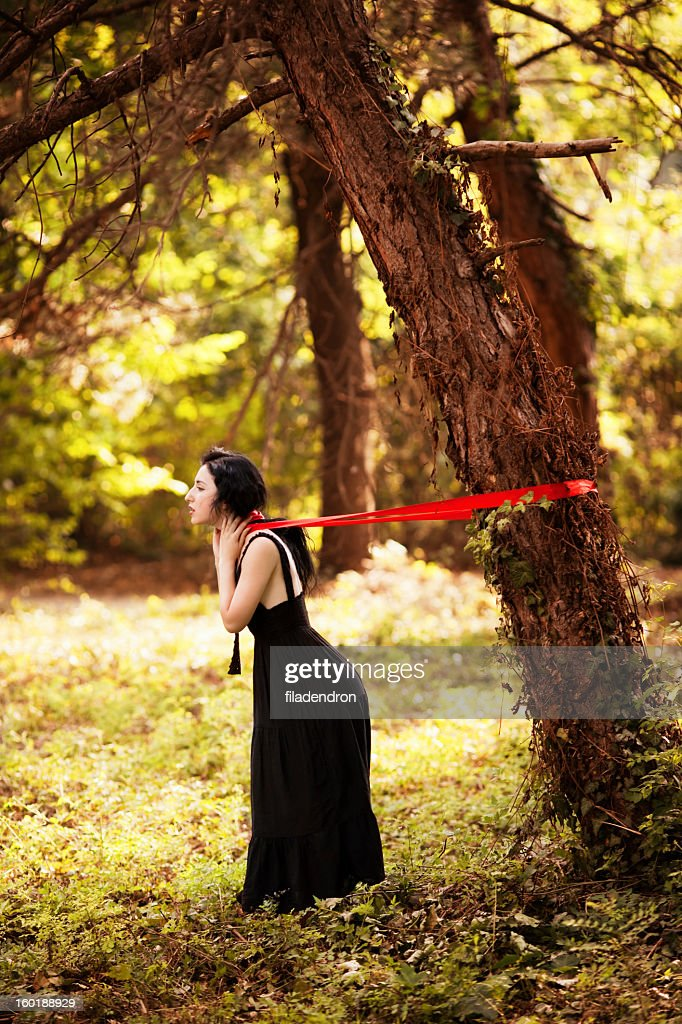 portrait of a beautiful  girl in forest : Stock Photo