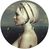 Head girl, butterfly, robot, surrealism, ufo