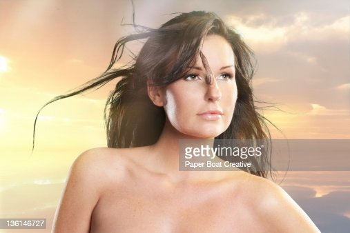 portrait of a beautiful lady in the morning : Stock Photo