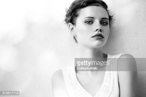 Portrait of a beautiful woman at the street. B&W