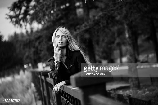 Portrait of a beautiful woman at the street : Stock Photo