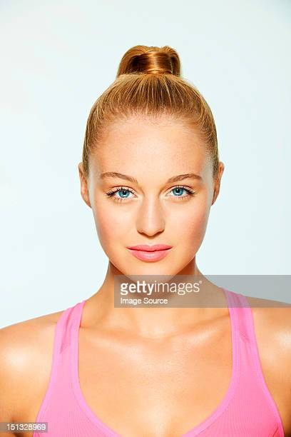 Portrait of a beautiful young woman with hair up