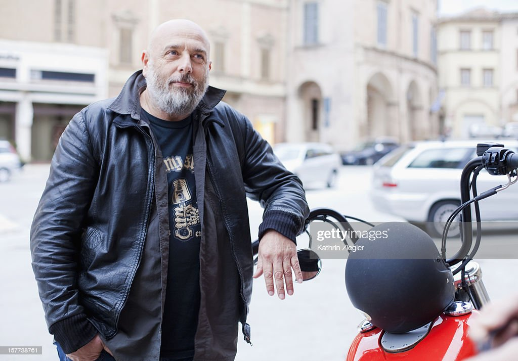portrait of a biker : Stock Photo