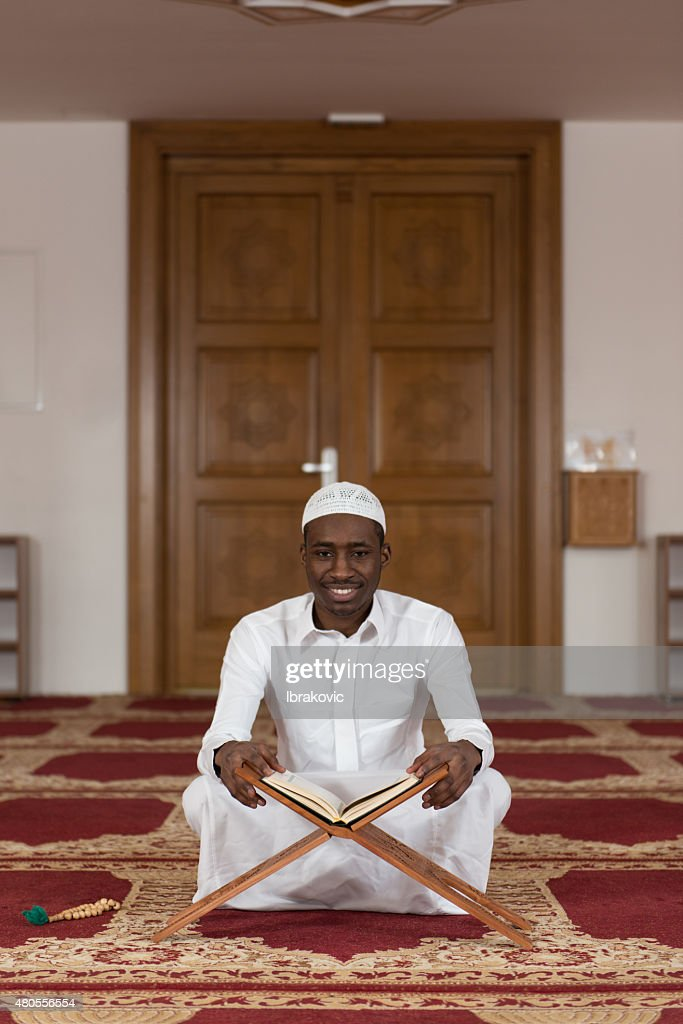 Portrait Of A Black African Man In Mosque : Stock Photo