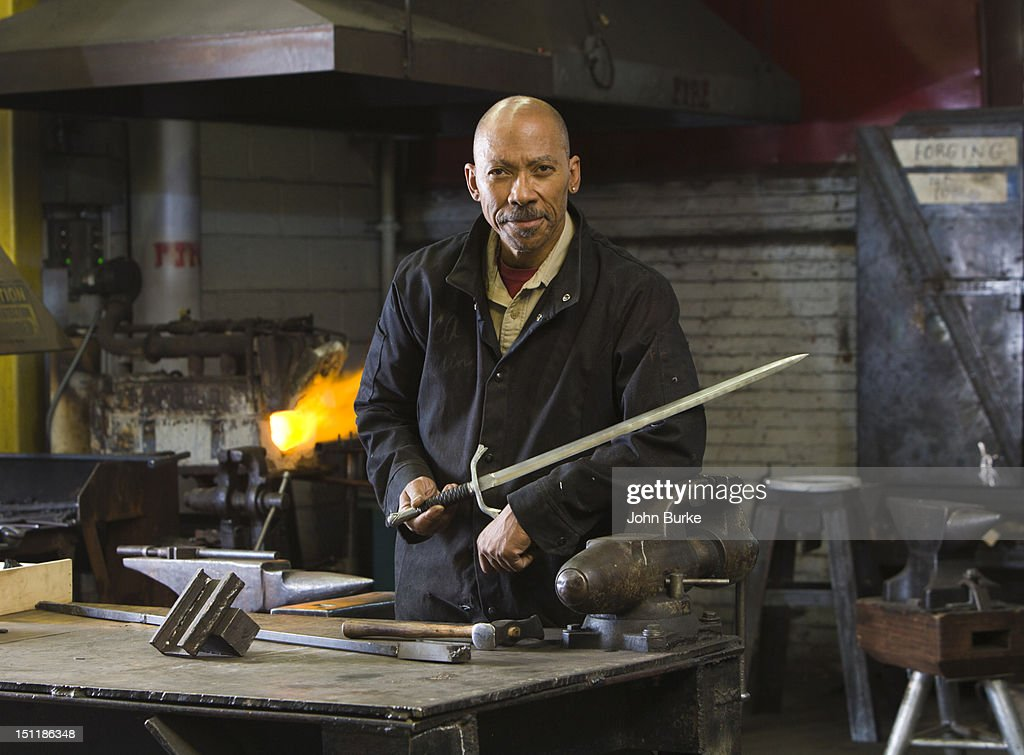 portrait of a bladesmith : Stock Photo