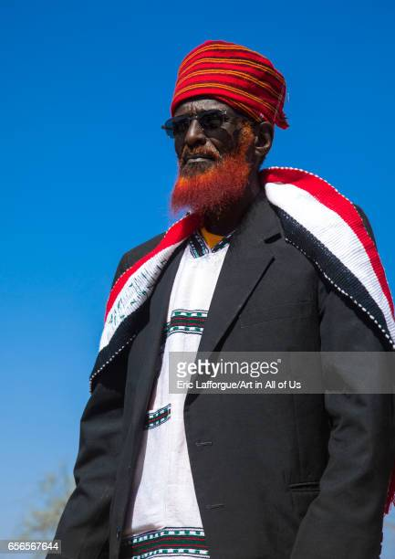 Portrait of a Borana tribe elder with a red beard during the Gada system ceremony Oromia Yabelo Ethiopia on March 7 2017 in Yabelo Ethiopia