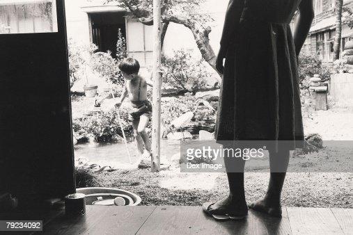 Portrait of a boy at garden : Stock Photo