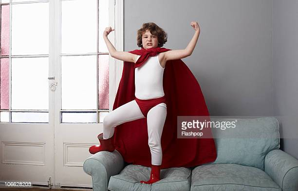 Portrait of a boy dressed as a superhero