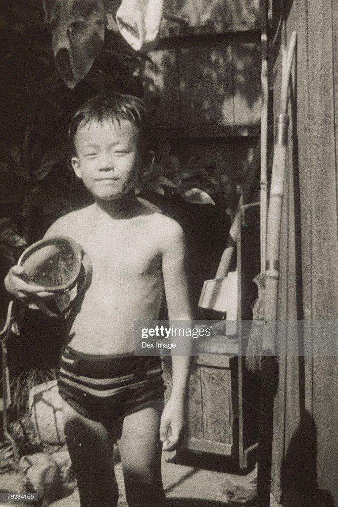 Portrait of a boy in swim wear : Stock Photo