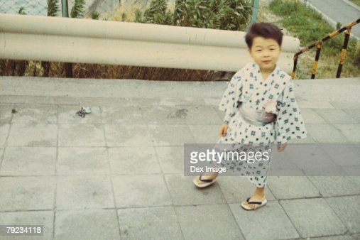 Portrait of a boy in traditional Japanese costume : Stock Photo