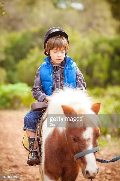Portrait of a boy riding pony horse