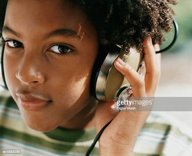 Portrait of a Boy Wearing Headphones