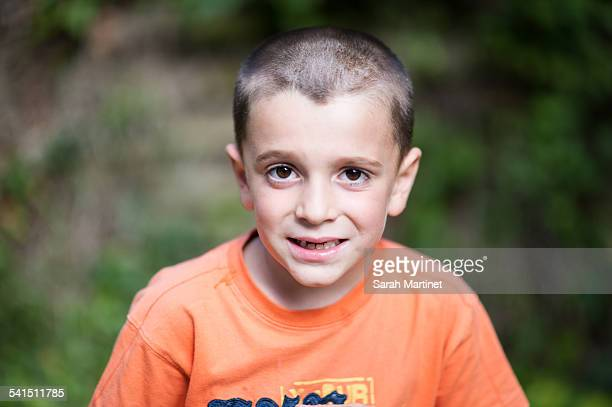 Portrait of a boy's hair shaved