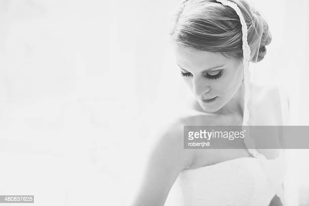 USA, Florida, Walton County, Aquarell, Porträt der Braut in weißen