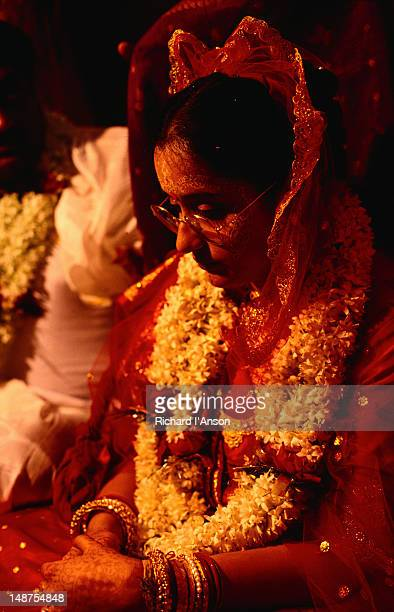 Portrait of a bride during her wedding ceremory.