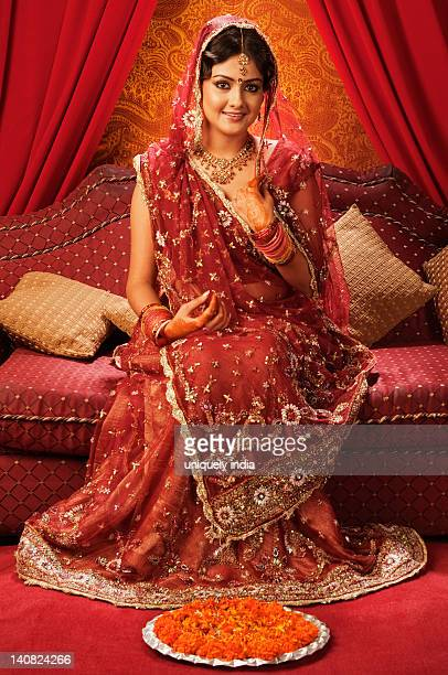 Portrait of a bride in a traditional wedding dress